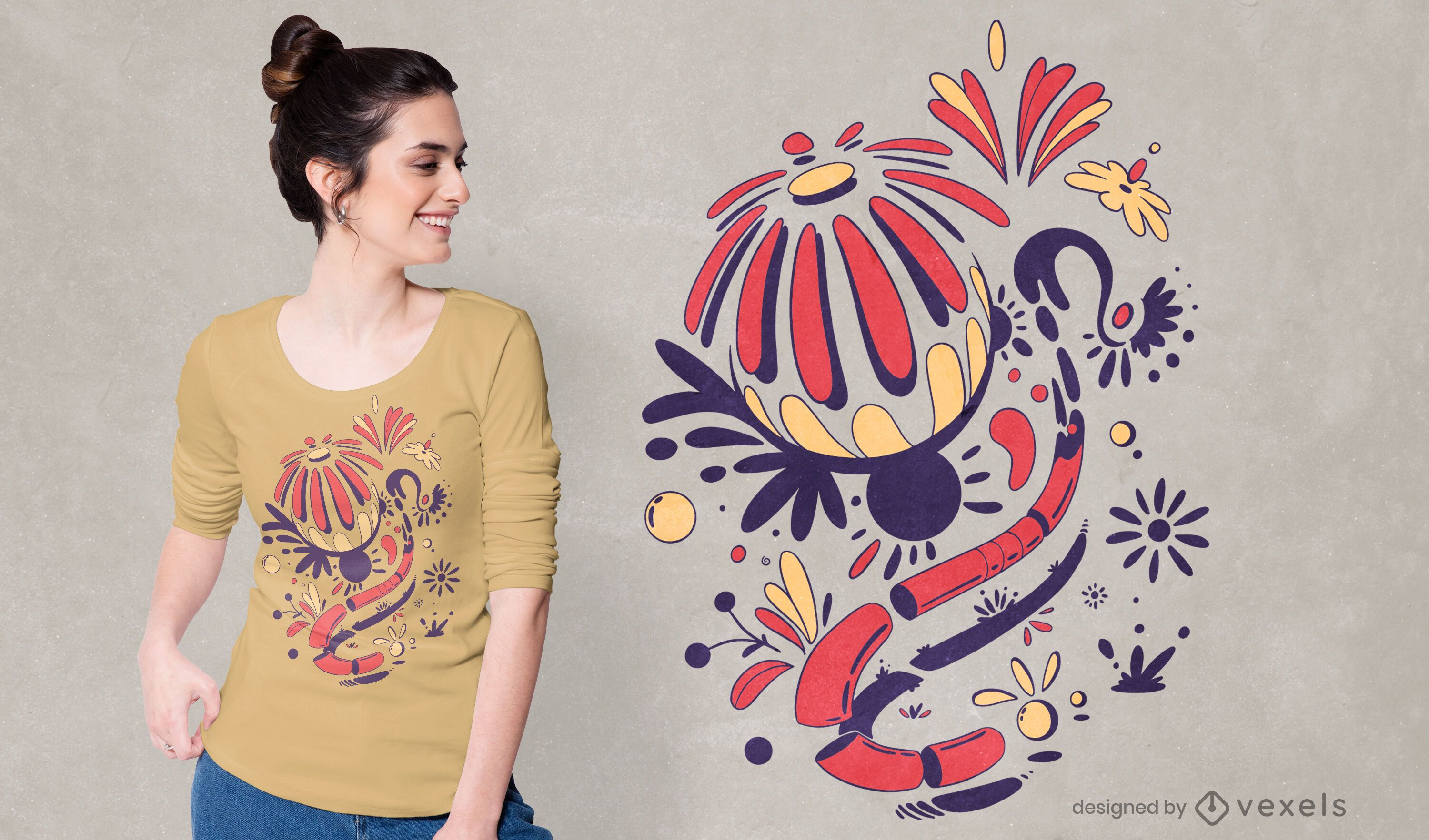 Abstract flowers t-shirt design