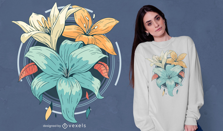 Diseño de camiseta de flores de lirio