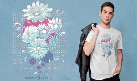 Diseño de camiseta de flores de margarita