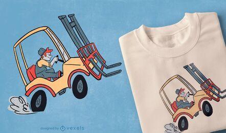 Diseño de camiseta de carretilla elevadora.