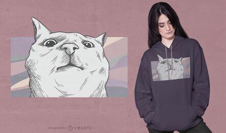 Diseño de camiseta de cara de gato divertido
