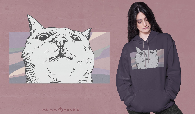 Design engraçado de t-shirt com cara de gato