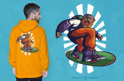 Snowboarder lion t-shirt design
