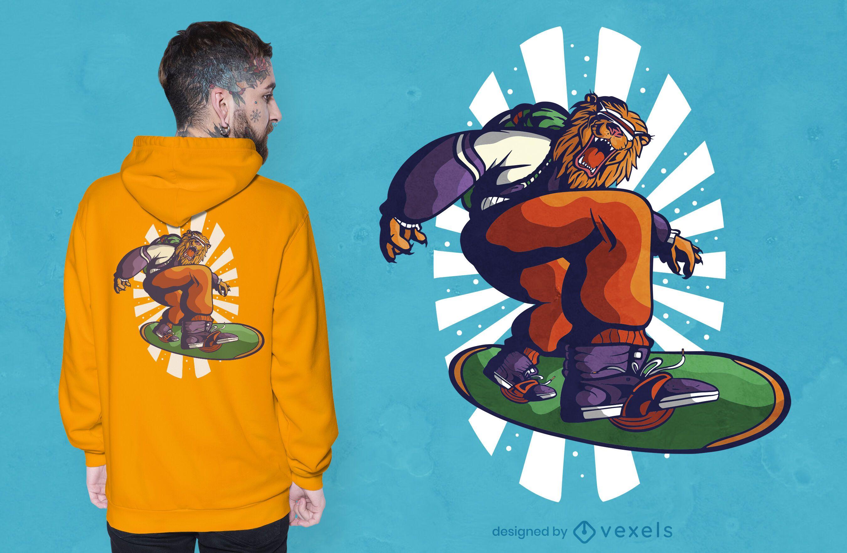 Snowboarder lion t-shirt design