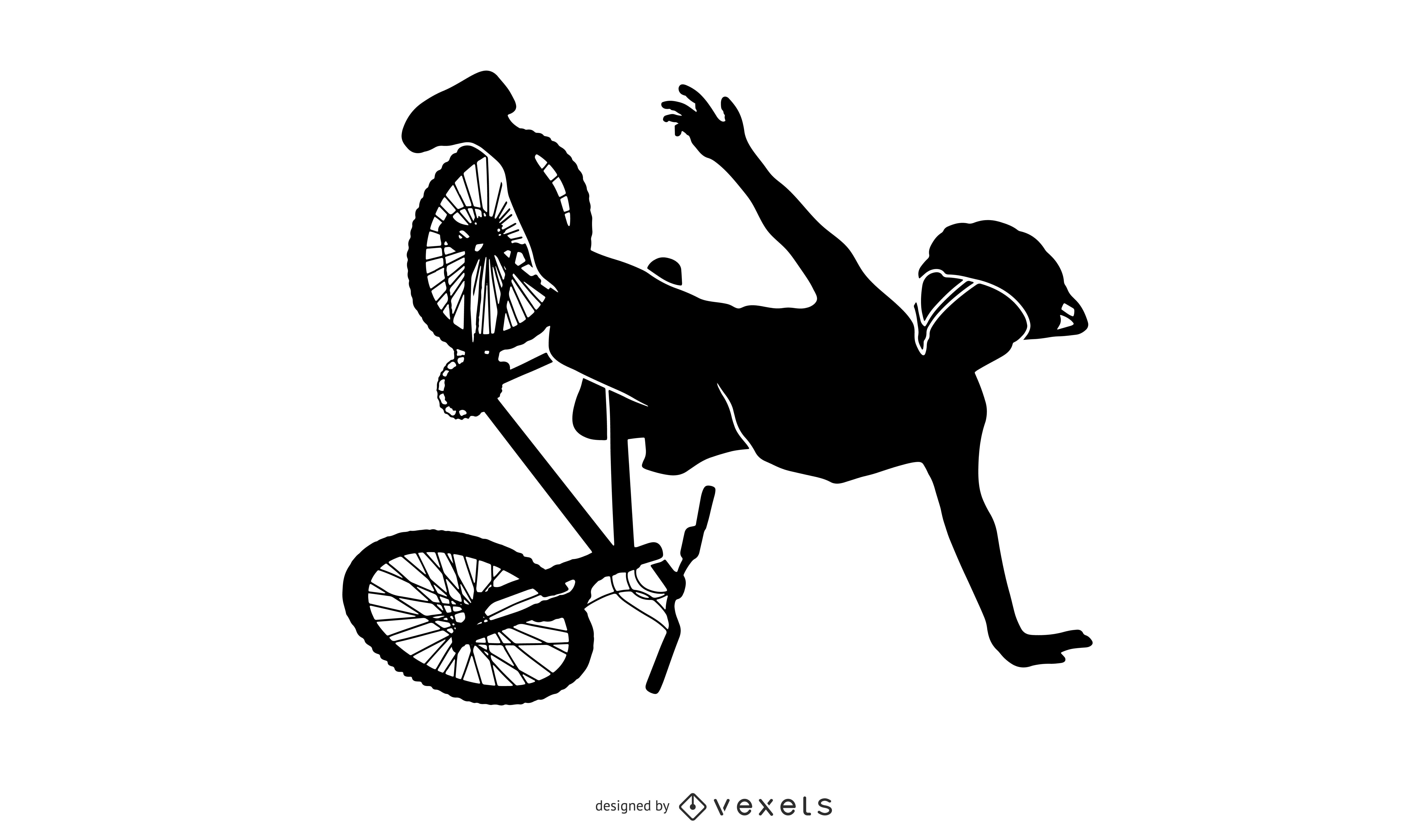 Biker falling silhouette design