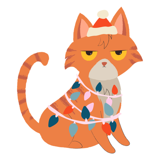 Angry cat christmas illustration