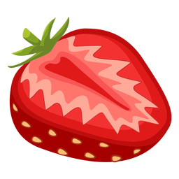Sliced strawberry side illustration