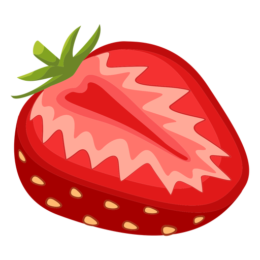 Sliced strawberry side illustration
