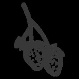 Dibujado a mano rama de tres fresas