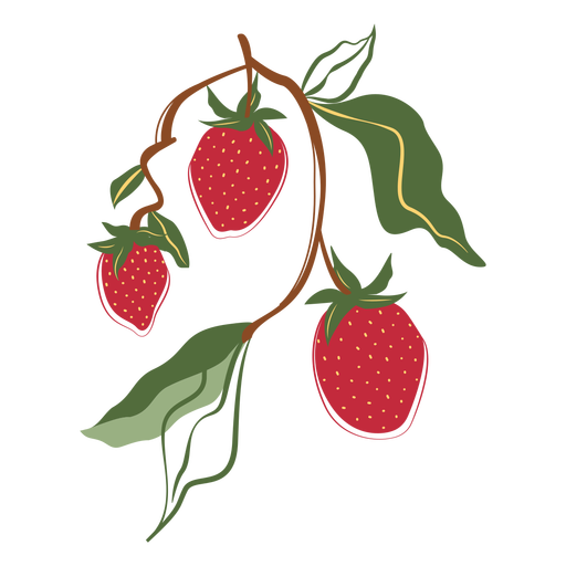 Three strawberries branch illustration