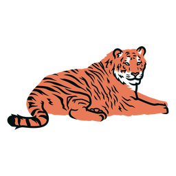 Tiger laying down illustration
