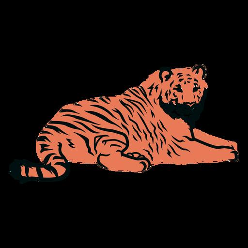 Tigre, acostado, ilustración