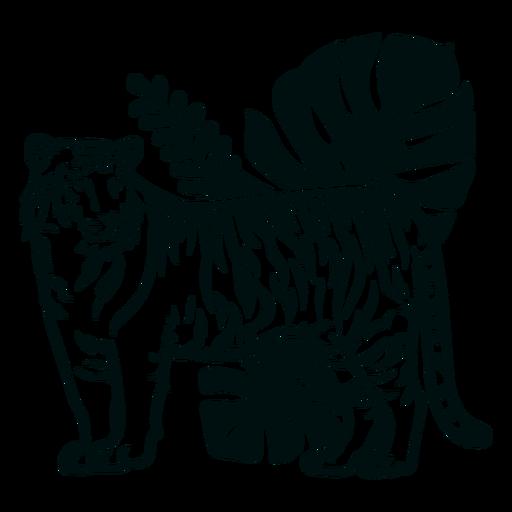 Lado del tigre con trazo de plantas.