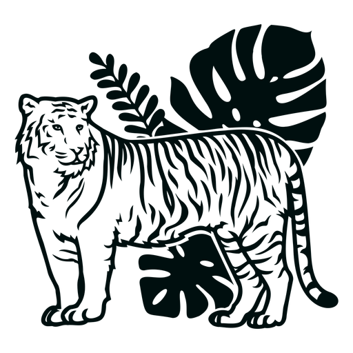 Tiger side with plants stroke