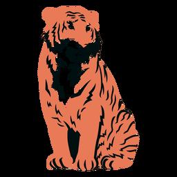 Tigre sentado em cheio