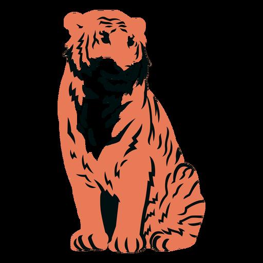 Tigre sentado lleno de trazo