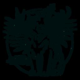 Tigre sentado con trazo de plantas