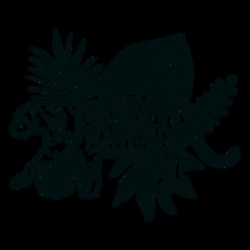 Tigre caminando con trazo de plantas