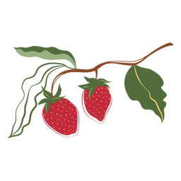 Two strawberries branch illustration