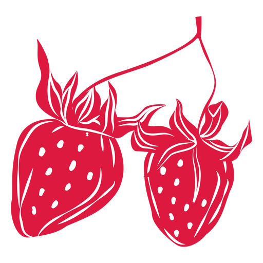 Two strawberries cut out