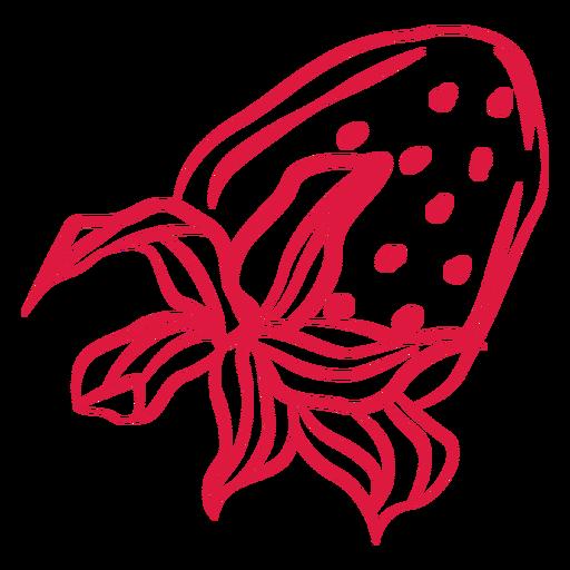 Upside down strawberry doodle Transparent PNG