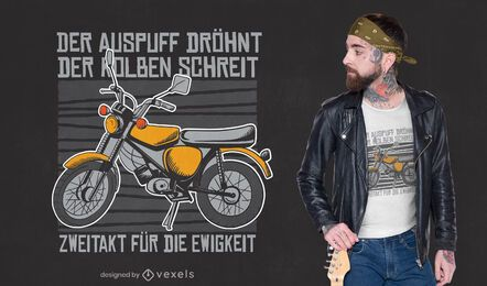 Diseño de camiseta de cita alemana de moto