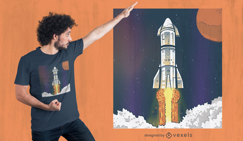 Diseño de camiseta de lanzamiento de nave espacial.