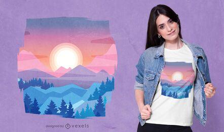 Desenho de t-shirt com paisagem do pôr do sol