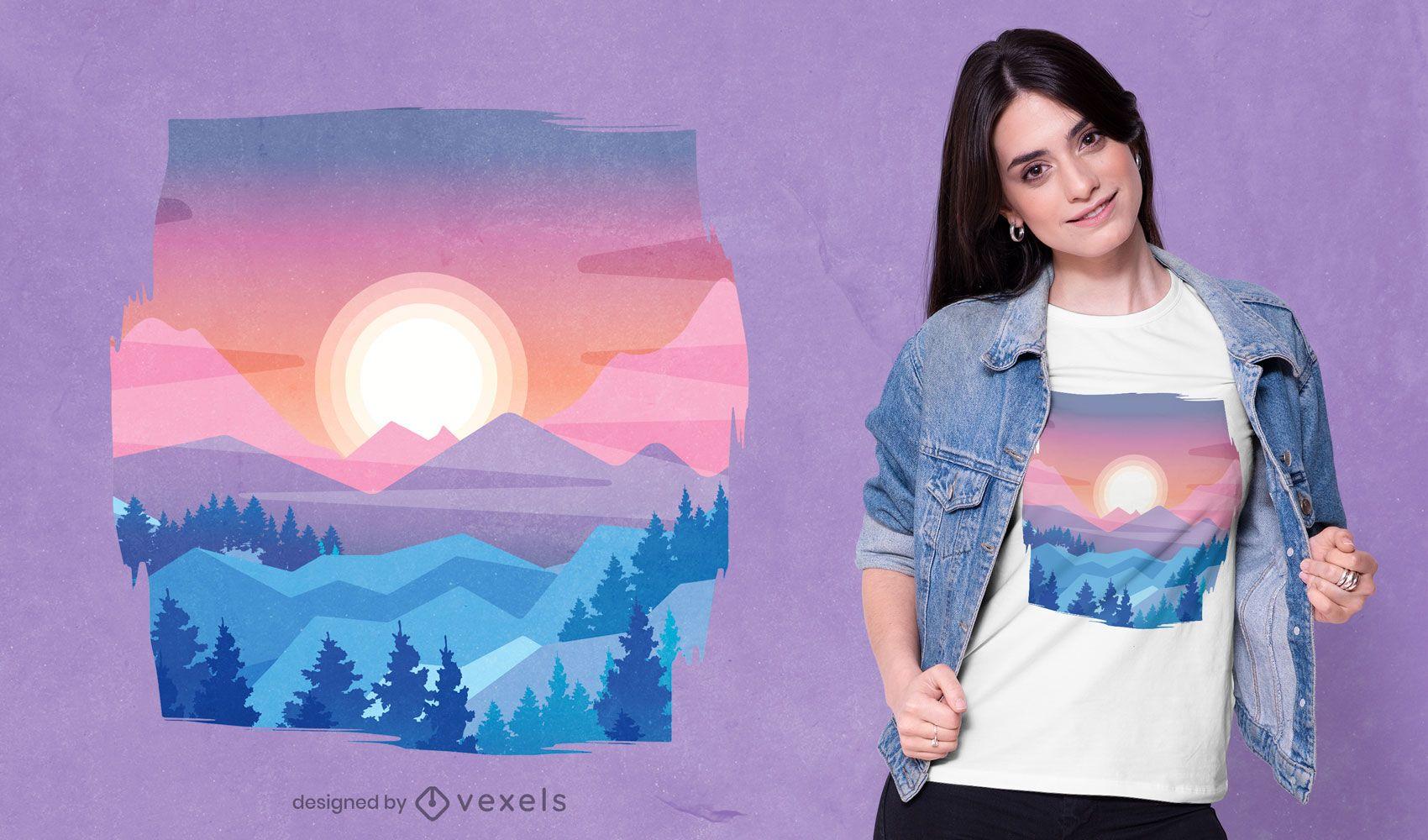 Desenho de t-shirt com a paisagem do pôr do sol