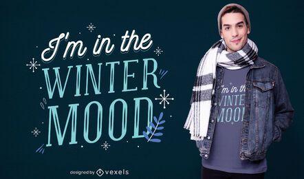 Diseño de camiseta de humor de invierno.
