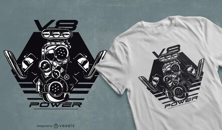 Diseño de camiseta V8 Power