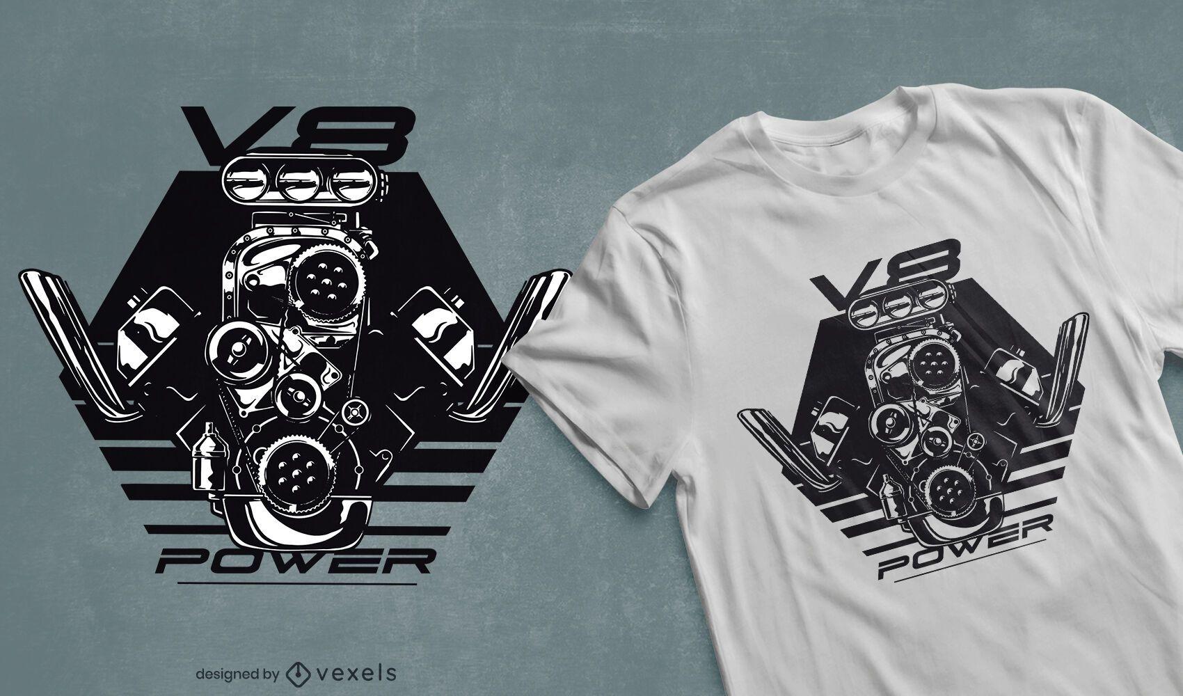 V8 Power t-shirt design