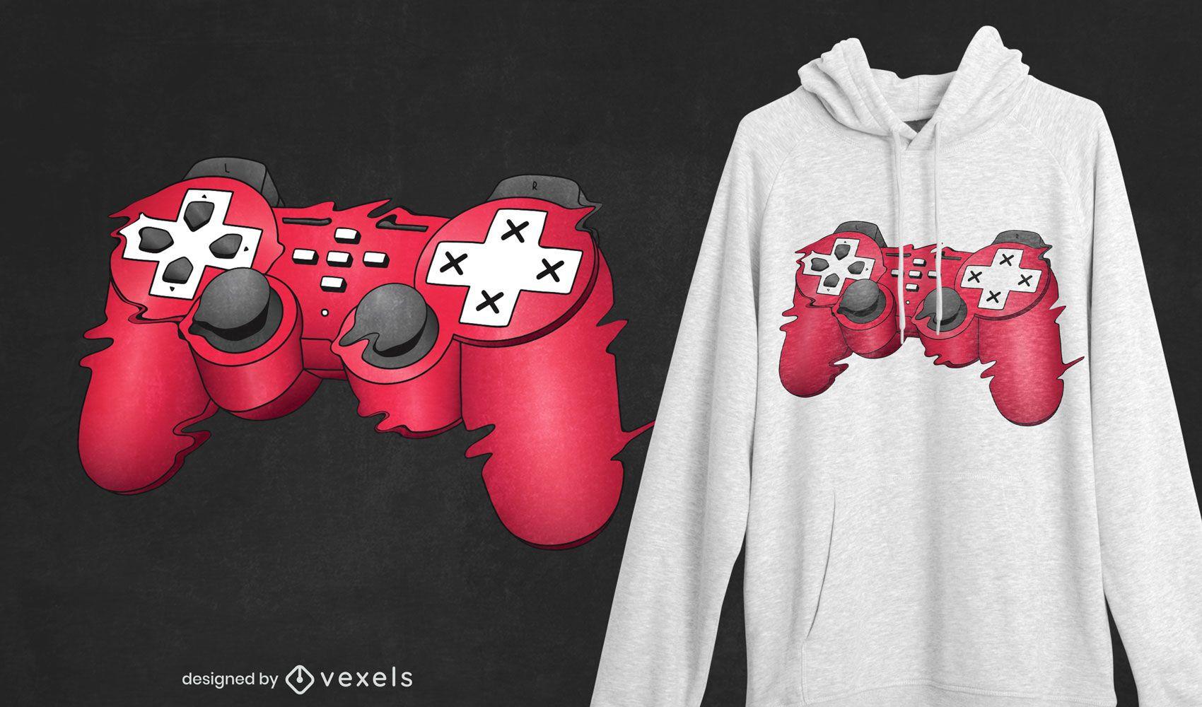 Diseño de camiseta con joystick glitchy