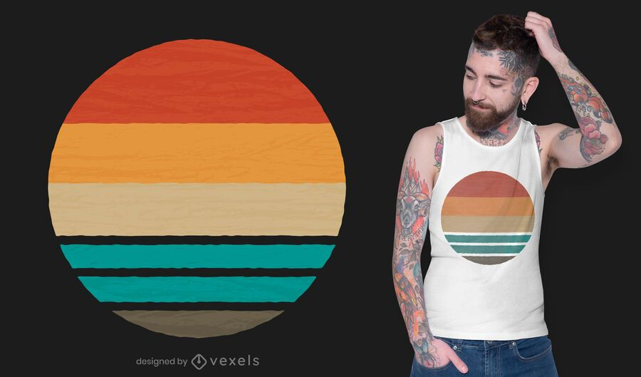 Design de camiseta retrô pôr do sol oceano