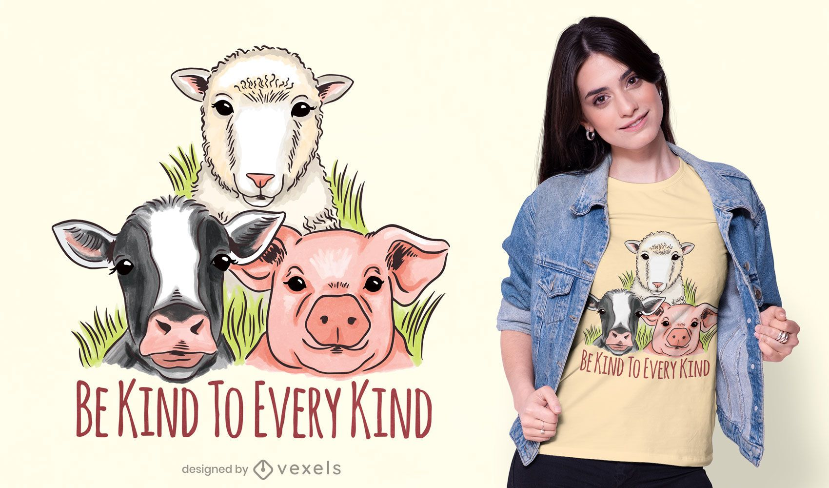 Vegan kindness t-shirt design