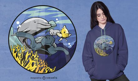 Diseño de camiseta de animales submarinos.