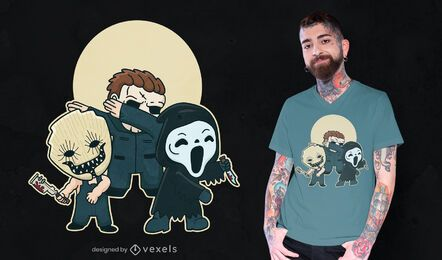 Diseño de camiseta de personajes de terror.