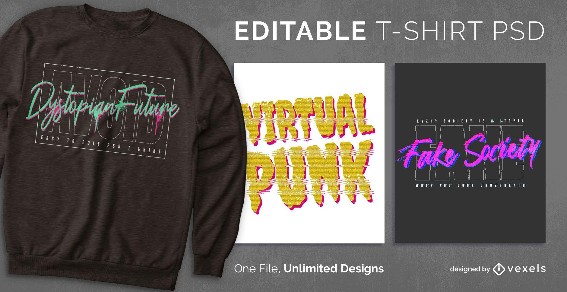 Camiseta cyberpunk escalable psd