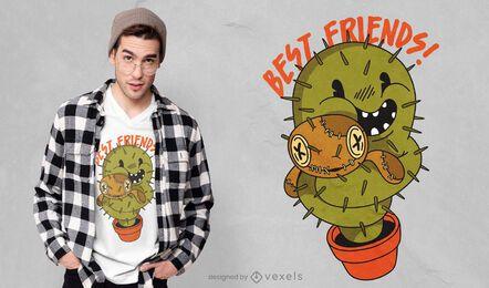 Diseño de camiseta cactus voodoo