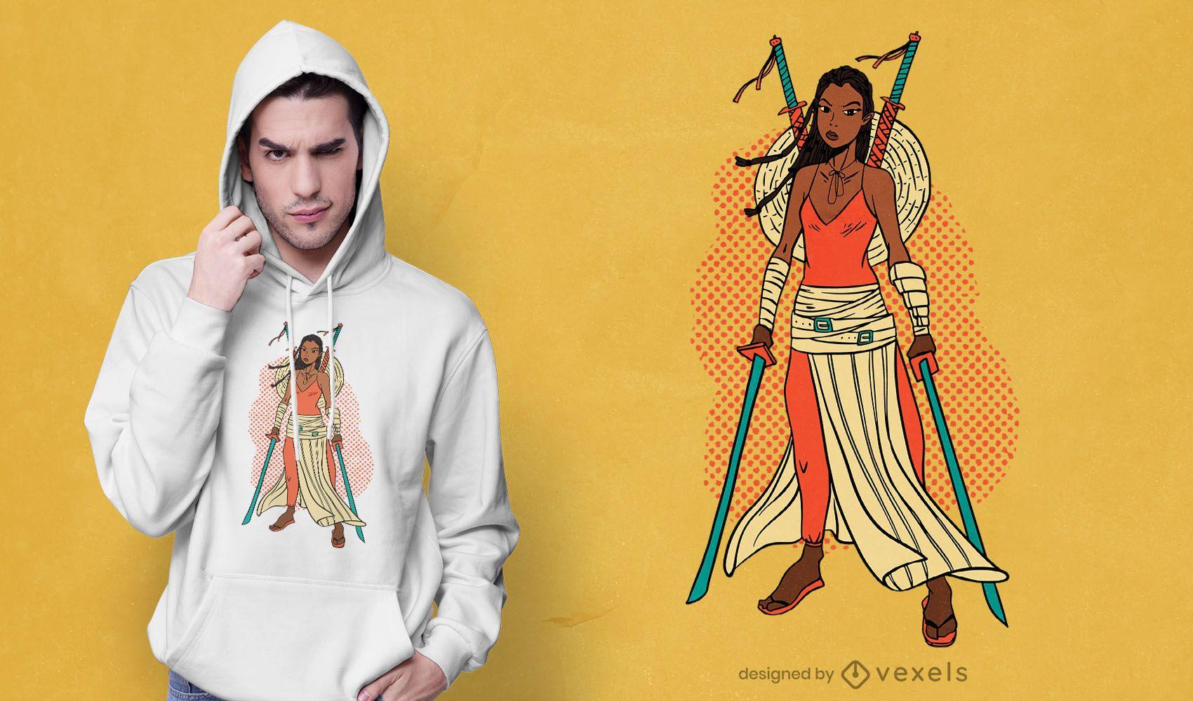 Diseño de camiseta Samurai moderno