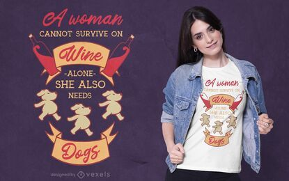 Dogs wine love t-shirt design