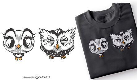 Diseño de camiseta de búhos lindo y gruñón.