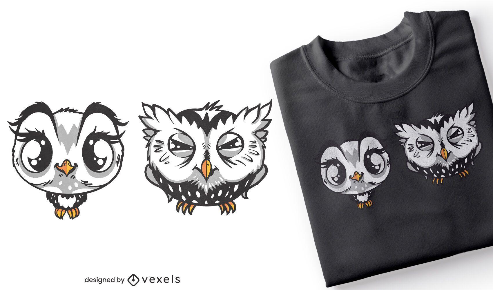 Cute and grumpy owls t-shirt design
