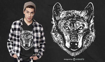 Diseño de camiseta de lobo monocromo