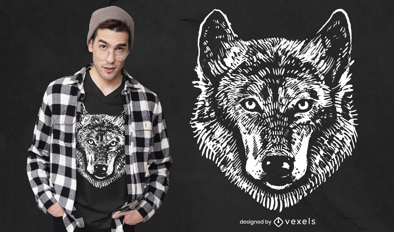 Design monocromático de camiseta lobo