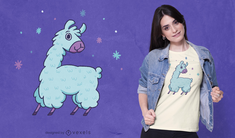 Lindo diseño de camiseta de llama azul