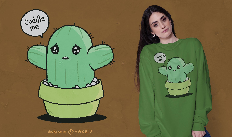 Diseño de camiseta de abrazos de cactus.