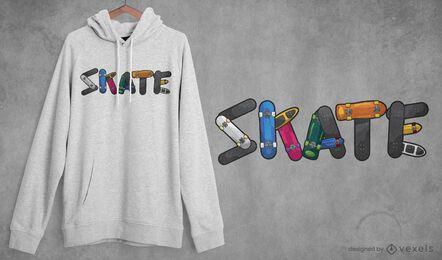 Diseño de camiseta con cita de skate