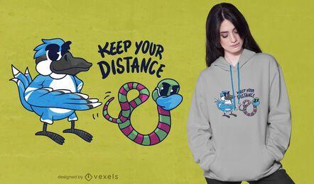 Design de t-shirt com distância de pássaro worm