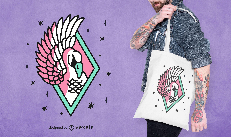 Diseño de bolso de mano con tatuaje de cisne